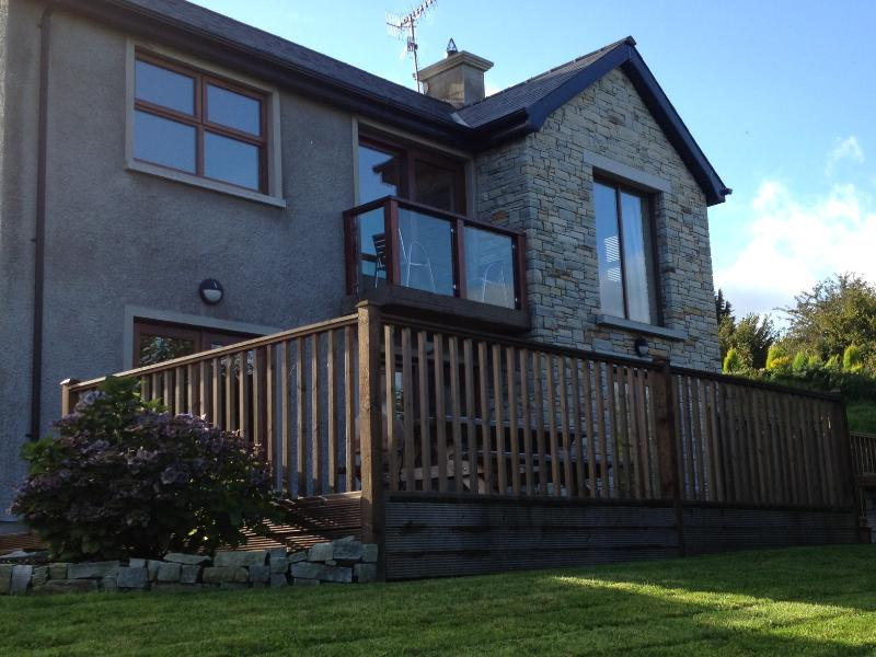 Balcony and large deck with stunning views of Carlingford Lough, and The Mourne and Cooley Mountains
