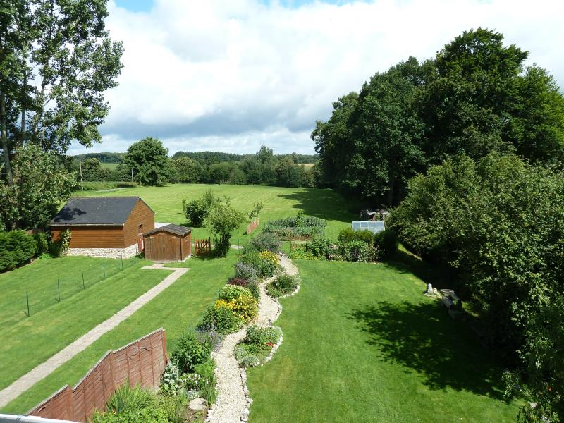 Private gardens with access to shared 3 acre field and splash pool