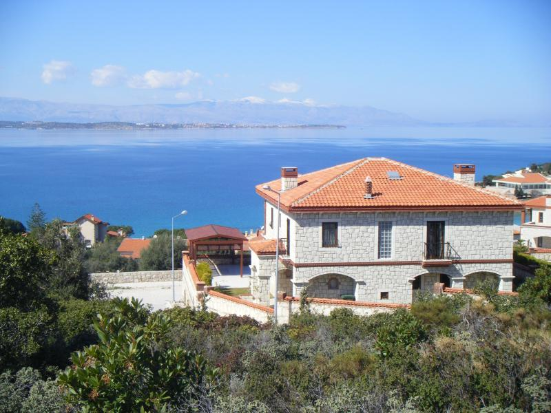 The villa with view of Greek island of Chios in the distance