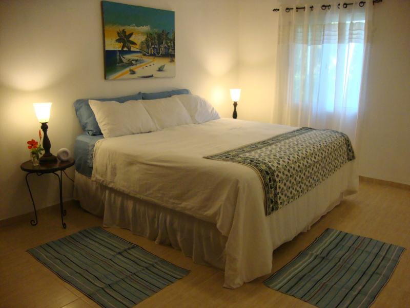 The air-conditioned master bedroom has a king-sized bed.