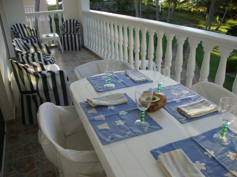 Or dine outside. The second story terrace offers great views of the pool and beach.