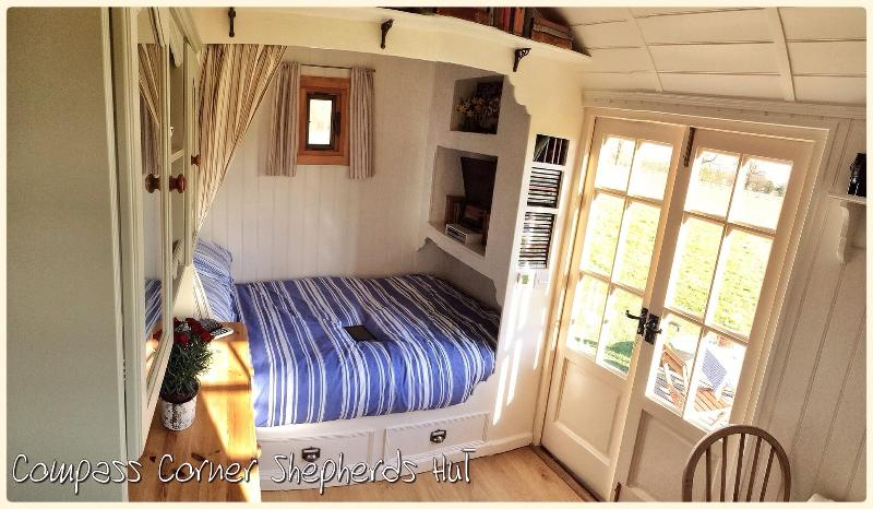 Inside Compass Corner Shepherds Hut - The Sleeping Quarters