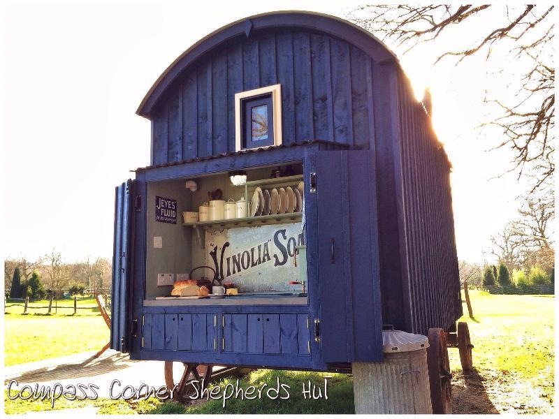 Inside Compass Corner Shepherds Hut - The Kitchenette
