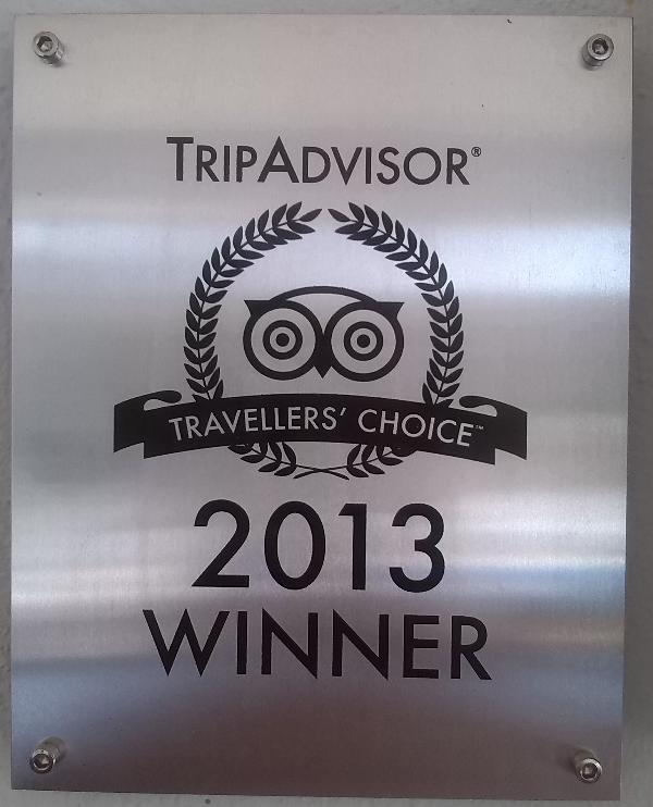 Tripadvisor award, thank you to all our previous guests who made this happen