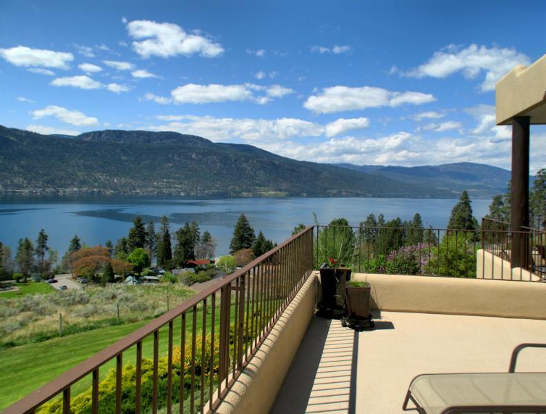 Terrace view of Lake Okanagan-west facing.  Lake and mountain view.