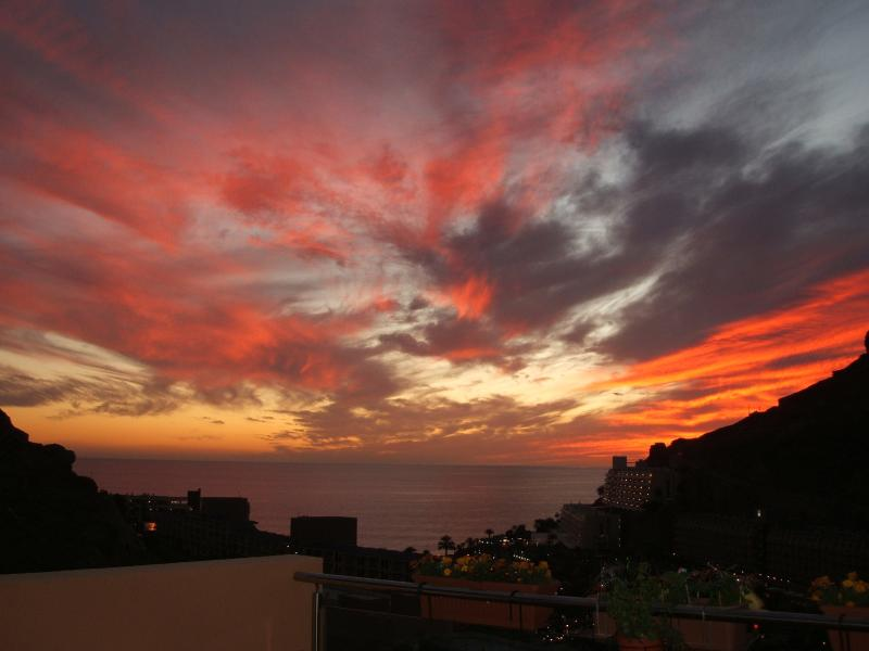 Stunning sunset from the terrace of The Taurito Building