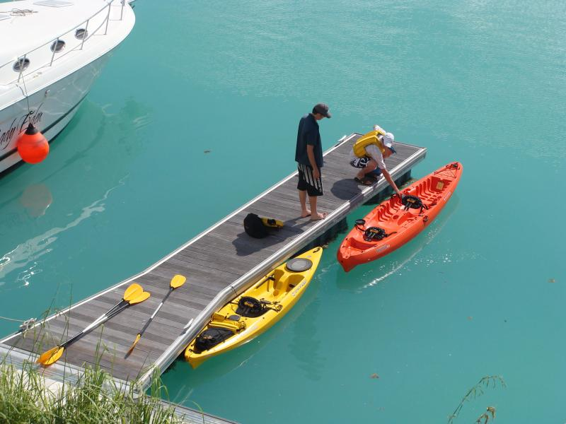 the kayaks being prepared for the paddle to Cerf island.
