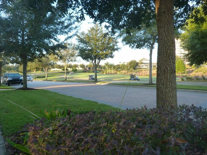 The resort clubhouse is just yards away from our front door