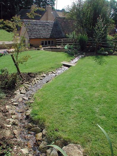 Garden with stream meandering through