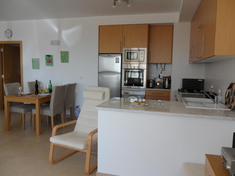 Totalmente equipada área de cocina en la sala de estar