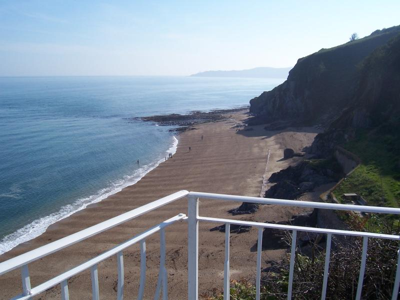 View from upstairs balcony at Cliff House over Cove Beach