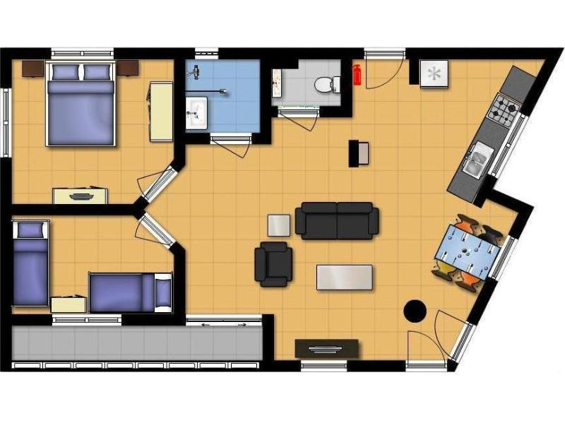 Layout of the apartment (approximately 70 m2 including balcony)