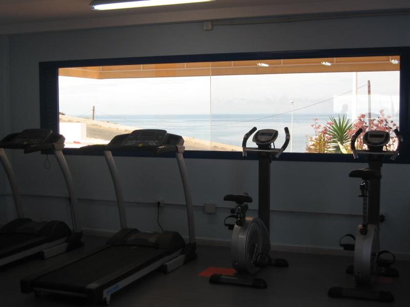 View of sea from the gymnasium