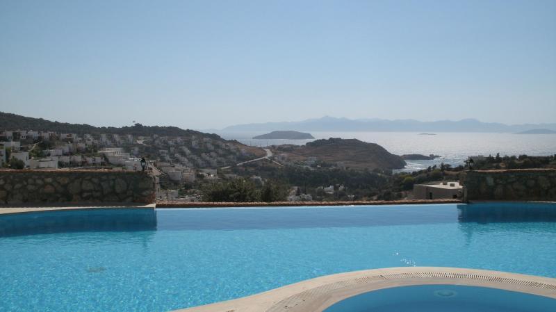 Views towards Greek Islands from Infinity Communal Pool