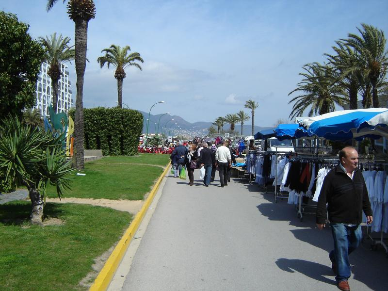 Empuriabrava weekly market along beach promenade
