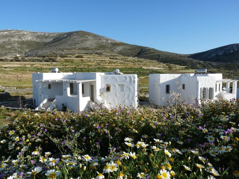 Springtime at villas Elia and Myrtia ( building on left) and Villa Levanda on the right.