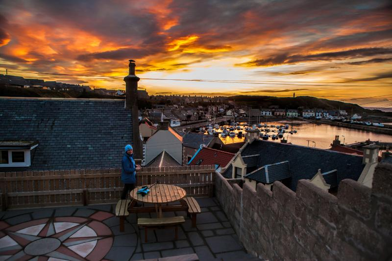 The view over the harbour from the garden  ©Paul Brown Photography