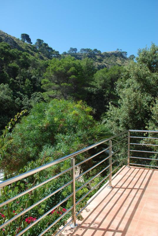 Terraza con vistas al bosque de roble y pino