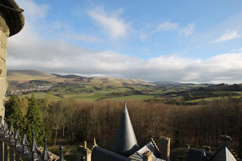 Private roof terrace view towards Ochil Hills