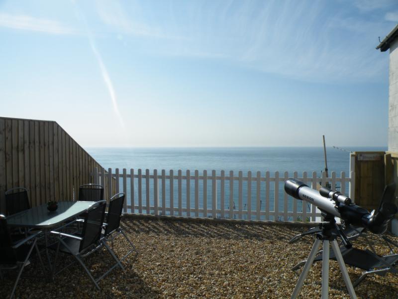 Rear garden with extensive sea views