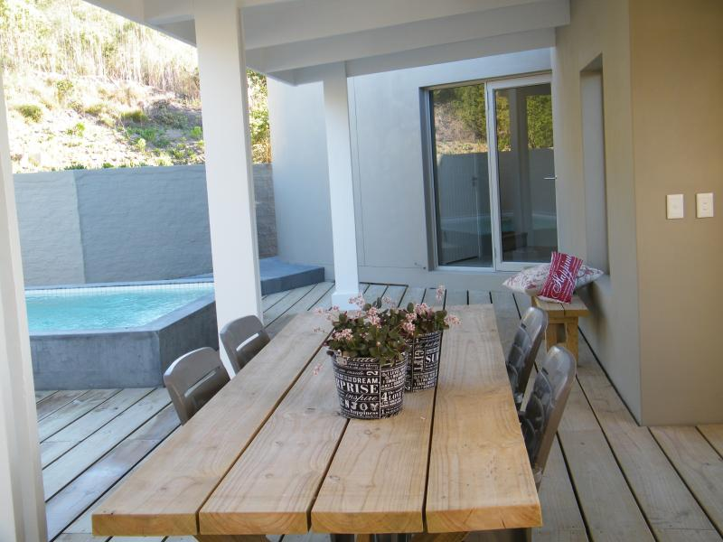 Private patio with pool interlinks the two units. Exclusive use. Both units available to 1 group onl