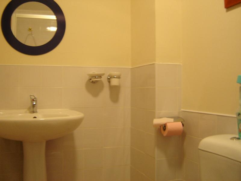 The Stables ground floor twin bedroom ensuite with extra large shower, washbasin and toilet