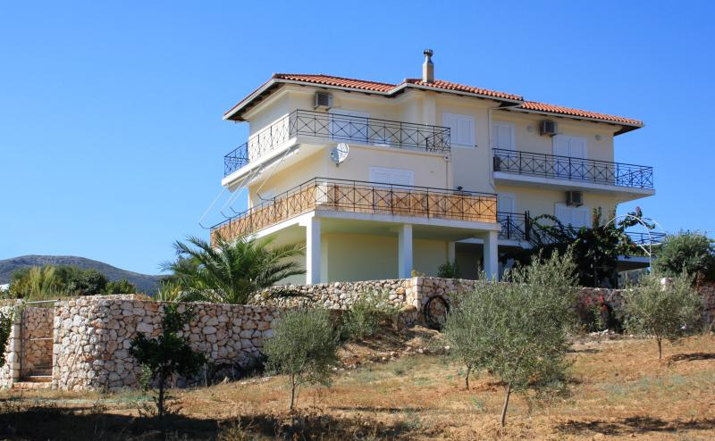 Front of the villa from the olive grove