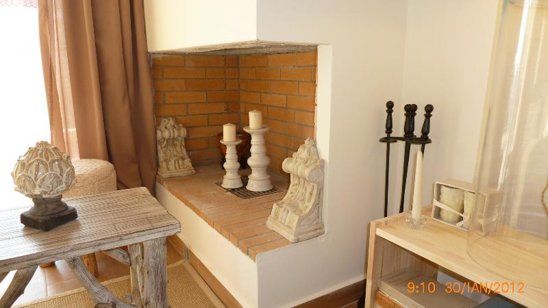 A detail of the fireplace