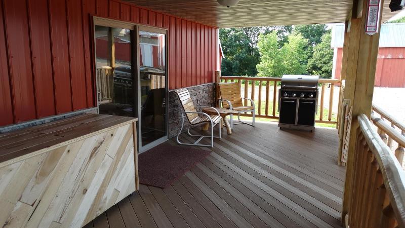 Deck at lodge main entry