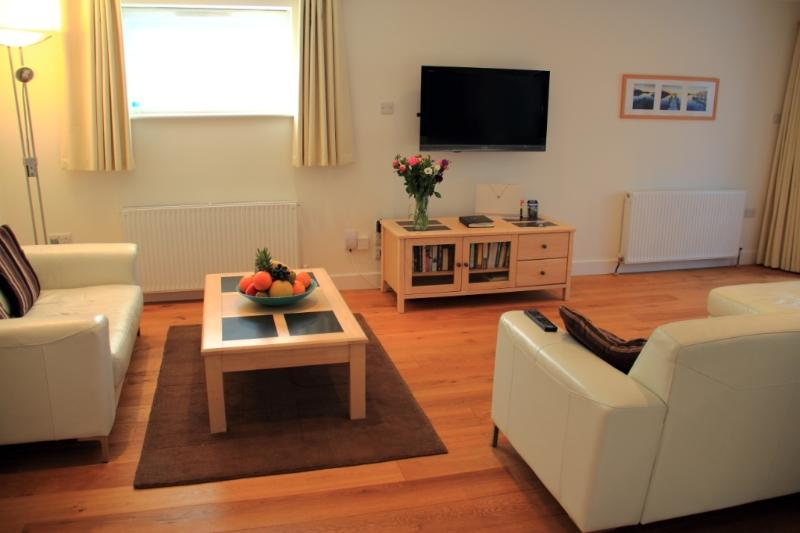 Open Plan Lounge/Kitchen with 42' HD TV, Wifi, leather suite, sliding/folding doors to Garden R