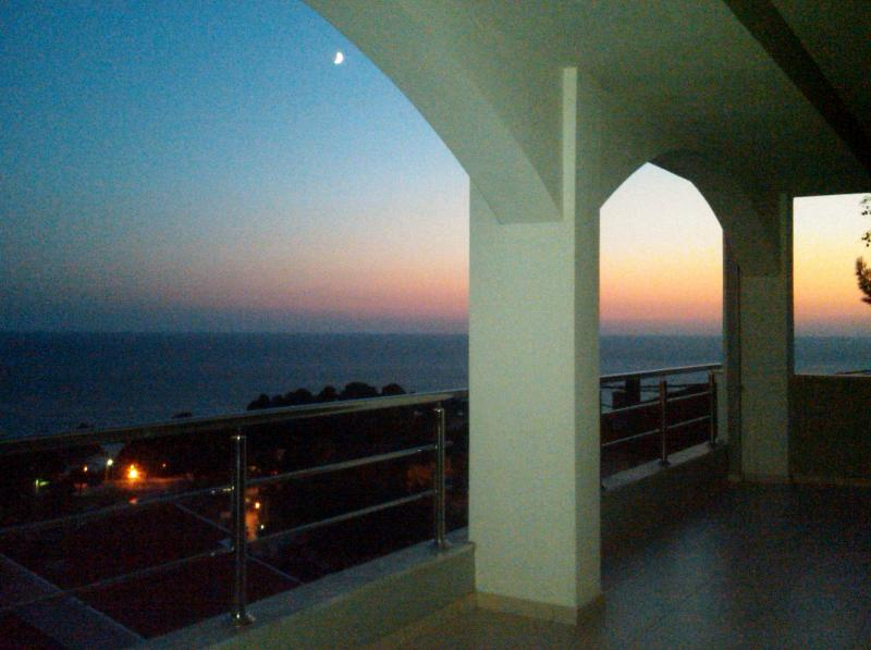 Sunset views from the balcony overlooking the Adriatic Sea.