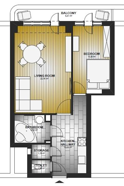 DISPOSAL PLAN (LIVING-ROOM CAN BE USED ALSO AS BEDROOM)
