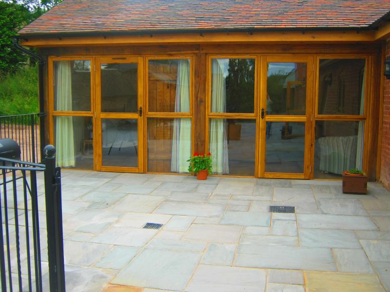 Glass Front of Tack Room.Level access