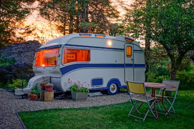 caravan in evening