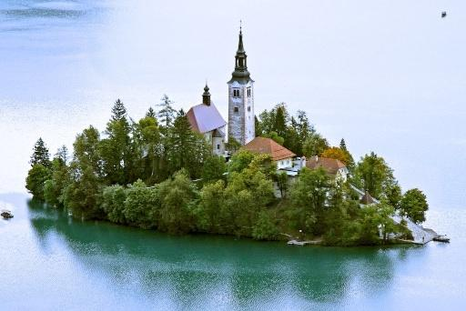 Island and Church, Lake Bled