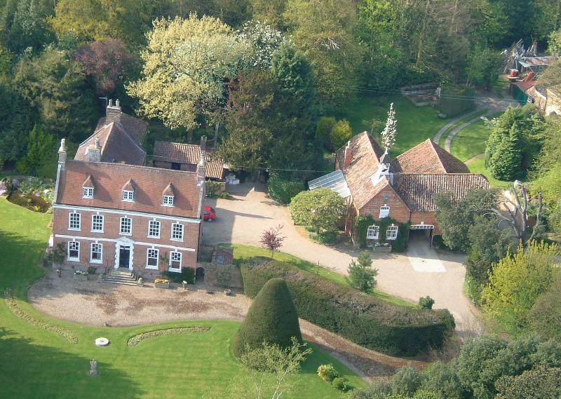 Aerial view of Brackenborough Hall and Coach House