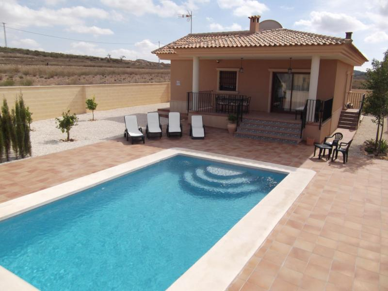 Villa from front with pool
