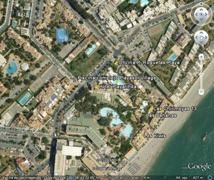 position in relation to beach, swimming-pool and our office on the corner