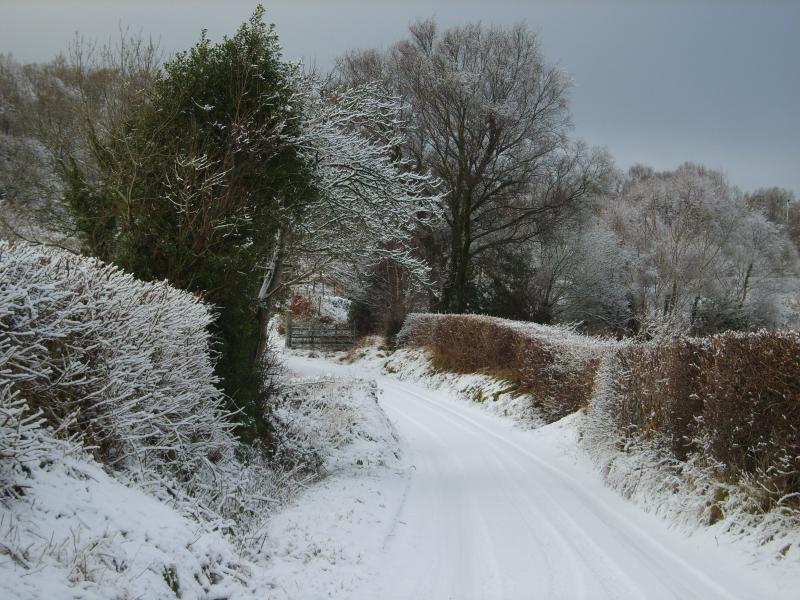 Lane na frente Penybryn no inverno