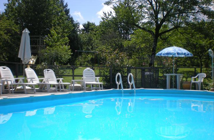 Heated swimming pool in orchard