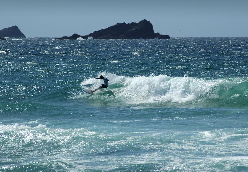 Surfing at nearby Fistral Beach