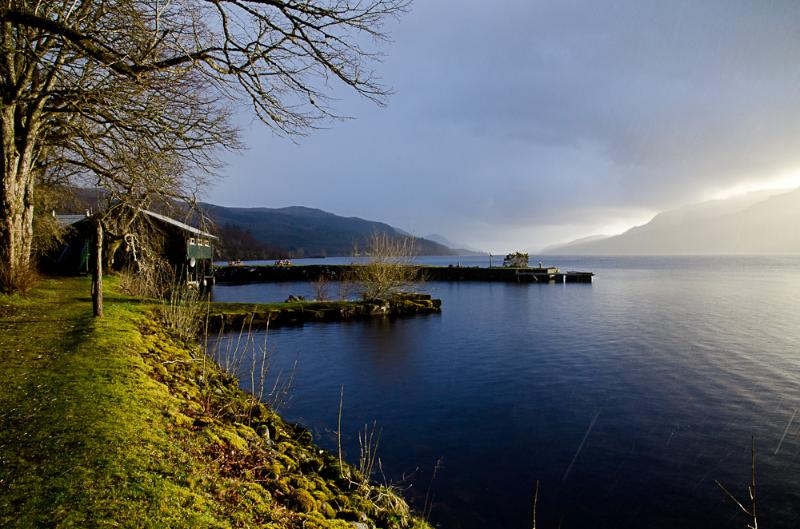 Loch Ness from the grounds of the monastery, with Boat House restaurant