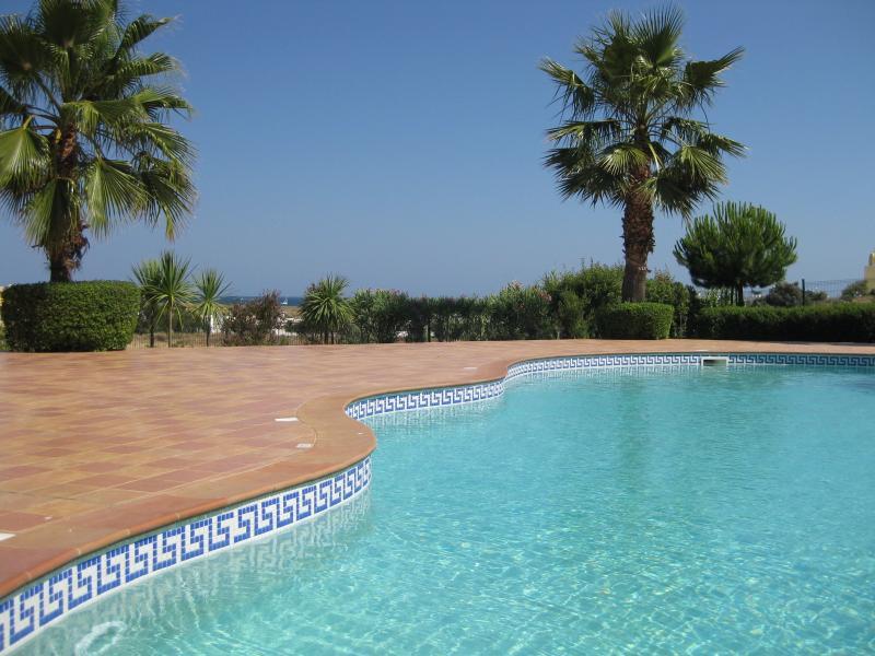 Belle piscine avec petite piscine spa attenant, situé dans des jardins paysagers