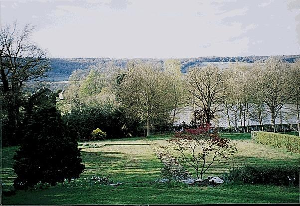View from the house over lake to North Downs in winter/spring