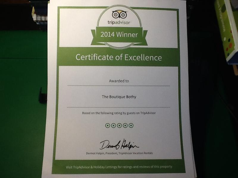 Certificate of Excellence! Many thanks to all who gave such glowing reviews.