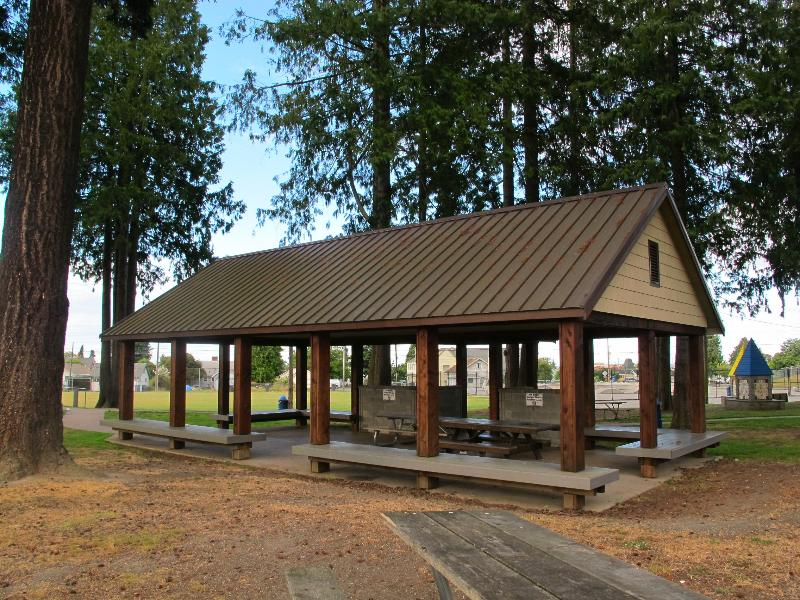 There is a picnice shelter & picnic tables available at Erickson Field.