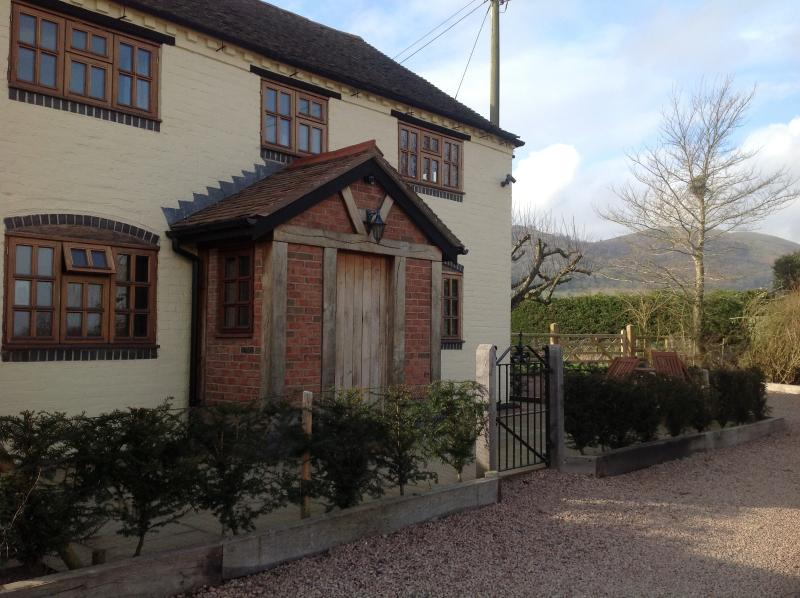 Front of Yew Tree Cottage with lovely views of the Malverns