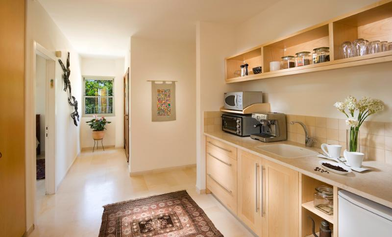 Kitchen equipped with microwave, toaster oven, electric stove, refrigerator, coffee machine