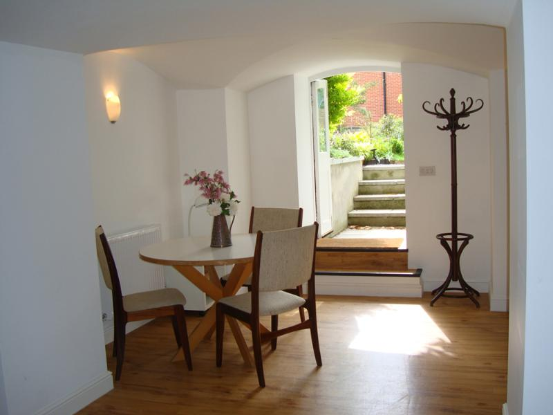 Dining area and doors to garden