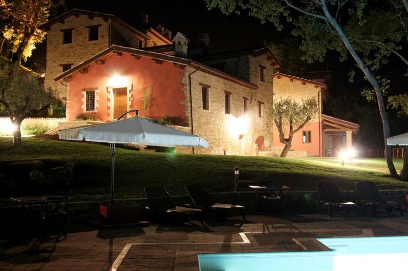 The Hamlet and the swimming pool at night